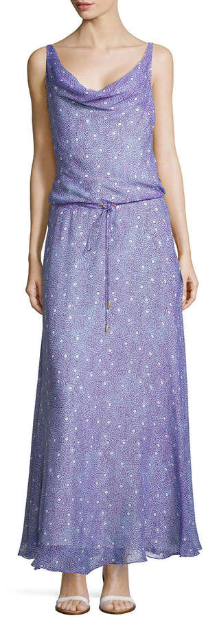 Diane von Furstenberg Sleeveless Draped Scoop Maxi Dress, Grain Stars
