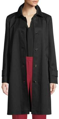Escada Collared Button-Front Straight Trench Coat