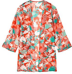 John Lewis Floral Kimono Jacket Top, Multi