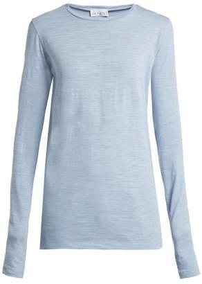 Raey Long Sleeved Slubby Cotton Jersey T Shirt - Womens - Blue