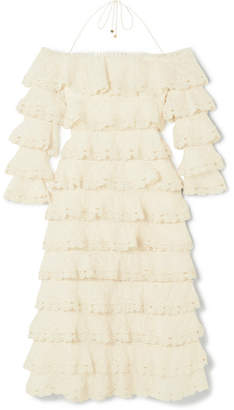 Zimmermann Tiered Lace And Cotton And Silk-blend Gauze Dress - Cream