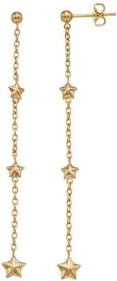 14k Gold Star Chain Linear Earrings