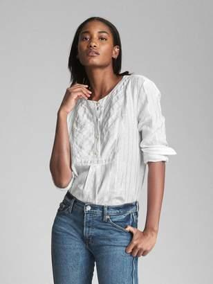 Gap Stripe Bib-Front Shirt in Linen