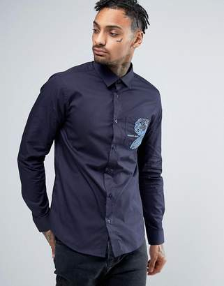 Versace Slim Fit Shirt In Navy With Embroidered Pocket