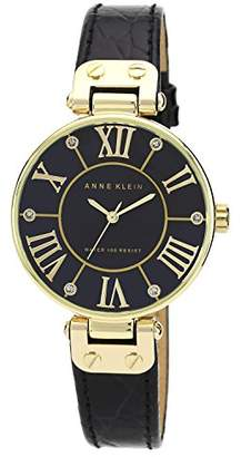 Anne Klein Women's AK/1396BMBK Gold-Tone Mother-Of-Pearl Dial Leather Dress Watch