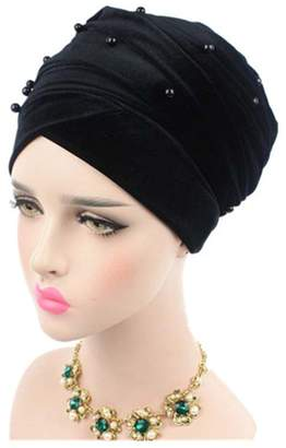 styling  STEVE YIWU Velvet Turban Headband Pearl Pleated Long Muslim Head  Wrap Hijab Tube Scarf 61933ad1da1