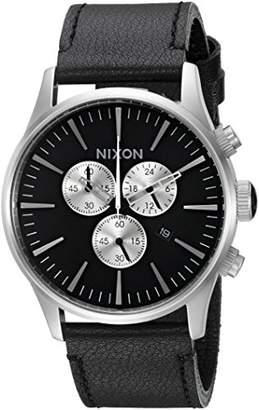 Nixon Men's 'Sentry Chrono' Quartz Metal and Leather Watch