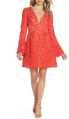 ML Monique Lhuillier Lazercut Bell Sleeve Fit & Flare Dress