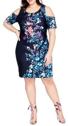Rachel Roy Printed Cold Shoulder Sheath Dress