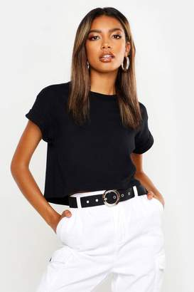 boohoo Basic Roll Sleeve Crop Cotton T-Shirt