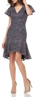 Carmen Marc Valvo Flutter-Sleeve High-Low Flounce-Hem Threadwork Dress