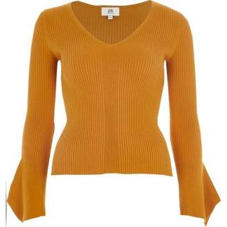 River Island Petite yellow rib knit wide sleeve top