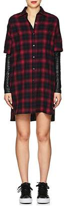 ADAPTATION Women's Leather-Sleeve Plaid Cotton Shirtdress - Red
