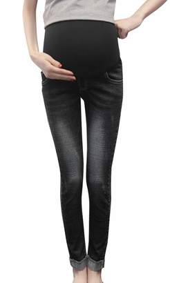 FEOYA Women's Maternity Jeans Folded Stretch Pants Over-Bump Trousers S