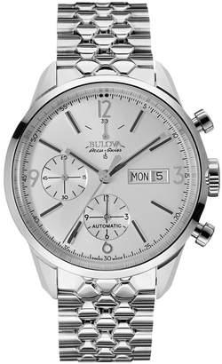 Bulova Accu Swiss Accu-Swiss Stainless St-Shirtl Silver-Tone Dial Watch, 41Mm