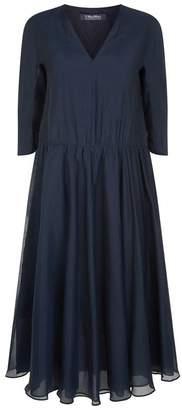 Max Mara Silk-Cotton Voile Midi Dress