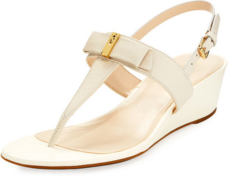 Cole Haan Elsie II Leather Bow Wedge Sandal, Ivory $119 thestylecure.com