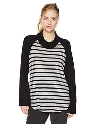 Michael Stars Women's Madison Brushed Stripe Colorblock Long Sleeve Cowl Neck