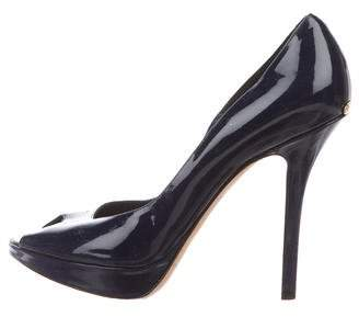 Christian Dior Patent Leather Peep-Toe Pumps