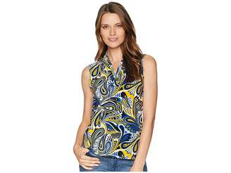 Anne Klein Paisley Triple Pleat Top Women's Clothing