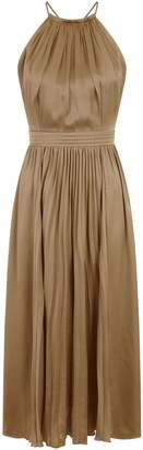 Dorothy Perkins Womens **Little Mistress Khaki Halter Neck Satin Maxi Dress