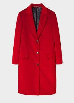 Paul Smith Women's Red Corduroy Cotton-Blend Epsom Coat
