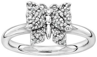 Simply Stacks Sterling Textured Butterfly Diamo nd Accent Ring