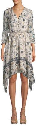 Shoshanna Jayne Floral-Print Silk Dress w/ Hankie Hem