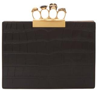 Alexander McQueen Knuckle Crocodile Effect Leather Clutch - Womens - Black