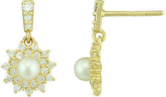 JCPenney FINE JEWELRY Petite Lux Cultured Freshwater Pearl and Cubic Zirconia Starburst Drop Earrings