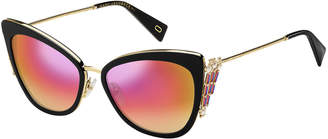 Marc Jacobs Embellished Mirrored Cat-Eye Sunglasses