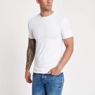 River Island Mens White rib muscle fit short sleeve T-shirt