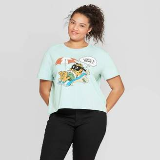 Garfield Women's Garfield Plus Size Short Sleeve Cropped Graphic T-Shirt - Mighty Fine (Juniors') - Teal