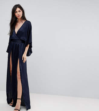 Flounce London Tall Wrap Front Kimono Maxi Dress with Double Thigh Splits and Bodysuit