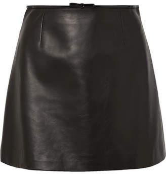 Miu Miu Bow-embellished Leather Mini Skirt - Black