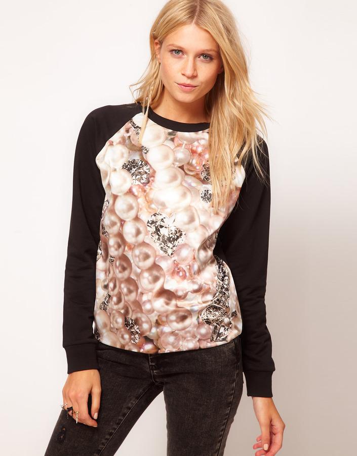 ASOS Sweatshirt with Pearl Diamond Print