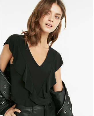 Express abbreviated crossover ruffle tee $39.90 thestylecure.com