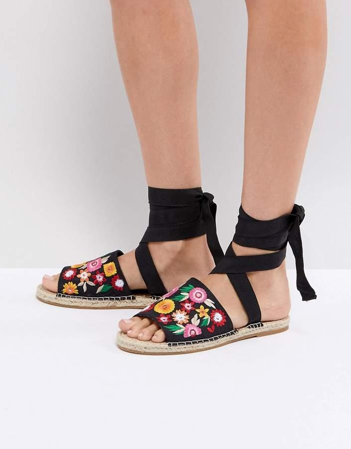 Asos Design ASOS JAC Embroidery Espadrille Sandals