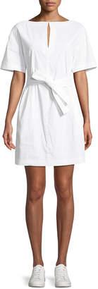 Theory Belted Crunch Wash Shift Dress w/ Self-Tie Waist