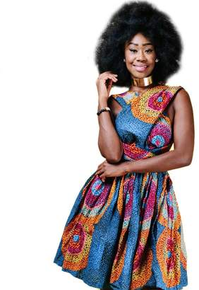IBTOM CASTLE Women Girl African Printed Maxi Flared Skirt High Waist A Line Dress Short Multi-Way Wrap Infinity Gown with Pockets XL