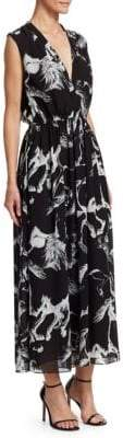 ADAM by Adam Lippes Printed Chiffon V-Neck A-Line Dress