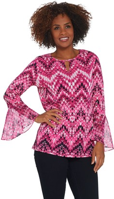 Susan Graver Printed Liquid Knit Tunic with Chiffon Sleeves