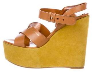 Sergio Rossi Suede Ankle Strap Wedges