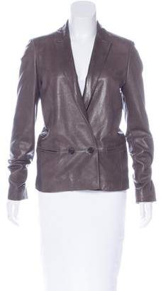 Giada Forte Double-Breasted Leather Blazer