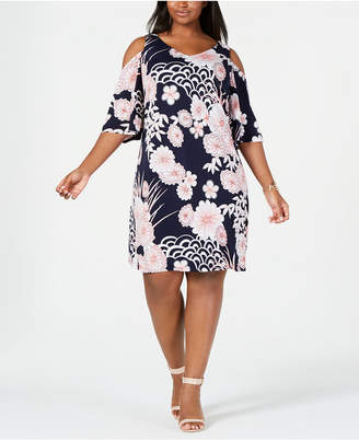 Connected Plus Size Floral Cold-Shoulder Dress