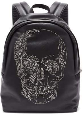 Alexander McQueen Skull Studded Leather Backpack - Mens - Black
