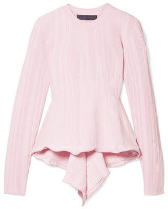 Proenza Schouler Ribbed Stretch-knit Peplum Sweater - Baby pink