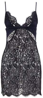 Coco de Mer Athene Satin And Lace Slip - Womens - Navy