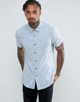 Asos DESIGN Slim Fit Viscose Shirt In Blue