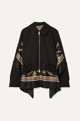Burberry Paneled Cotton-gabardine And Printed Silk-twill Jacket - Black